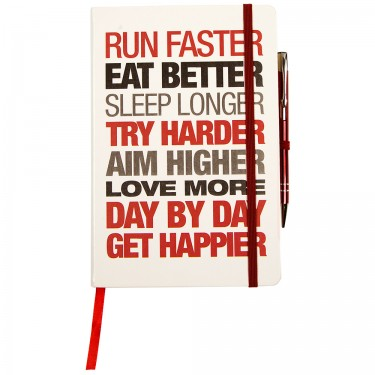 'A' Grade Motivational Notebook - Hardback A5 White/Red