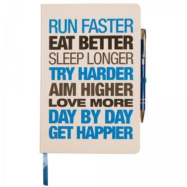 Motivational Notebook - Hardback A5 White/Blue