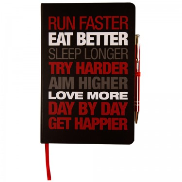 Motivational Notebook - Hardback A5 Black/Red