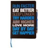 Motivational Notebook - Hardback A5 Black/Blue