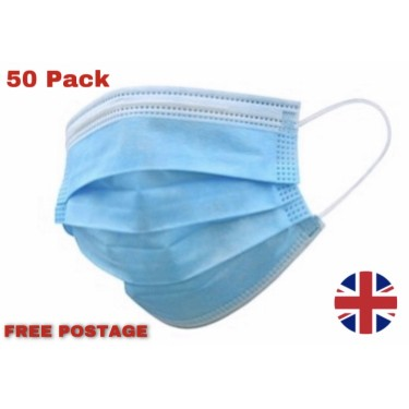 Face Masks - Blue Disposable Face Masks - 3 Layers 50 Pack